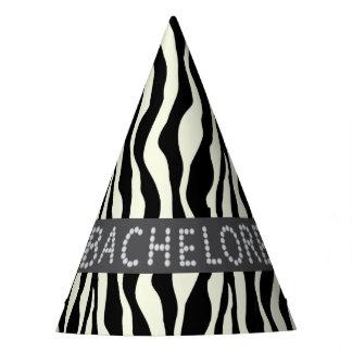 Chic Zebra Faux Diamond Bachelorette Party Hats