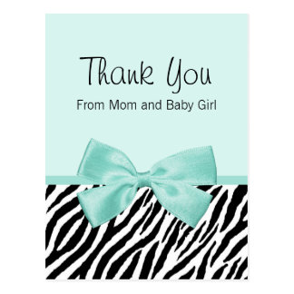 Chic Zebra Fresh Mint Bow Baby Shower Thank You Postcard