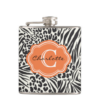 Chic Zebra Leopard & Orange Custom Monogram Flask