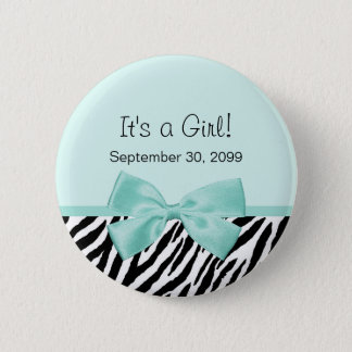 Chic Zebra Mint Ribbon Girly Birth Announcement 2 Inch Round Button