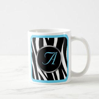 Chic Zebra Print Aqua Blue Monogram mug