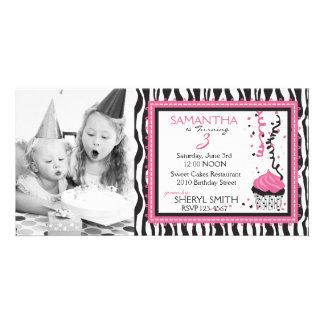 Chic Zebra Print Birthday Invitation PC Photo Cards