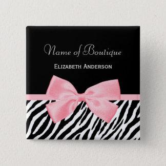 Chic Zebra Print Boutique Light True Pink Ribbon 2 Inch Square Button