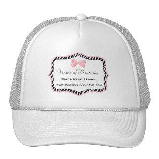 Chic Zebra Print Boutique Light True Pink Ribbon Trucker Hat