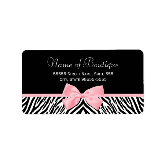 Chic Zebra Print Boutique Light True Pink Ribbon Label