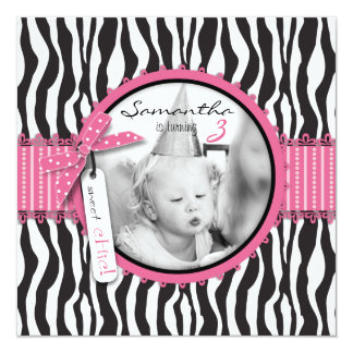 "Chic Zebra Print & Cupcake Birthday Photo Template 5.25"" Square Invitation Card"