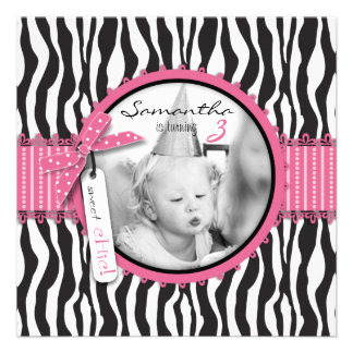 Chic Zebra Print & Cupcake Birthday Photo Template Announcements