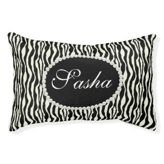 Chic Zebra Print Pattern Name Monogram Pet Bed