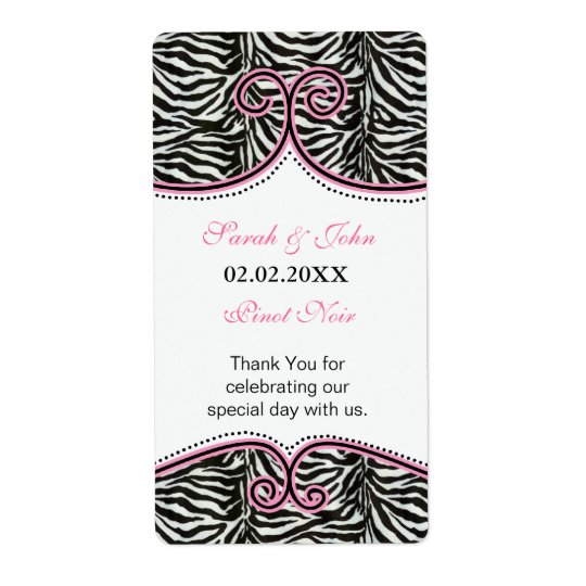 Chic Zebra Print Pink Personalized Wine label Shipping Label
