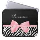 Chic Zebra Print Soft Girly Light Pink Ribbon Laptop Sleeve