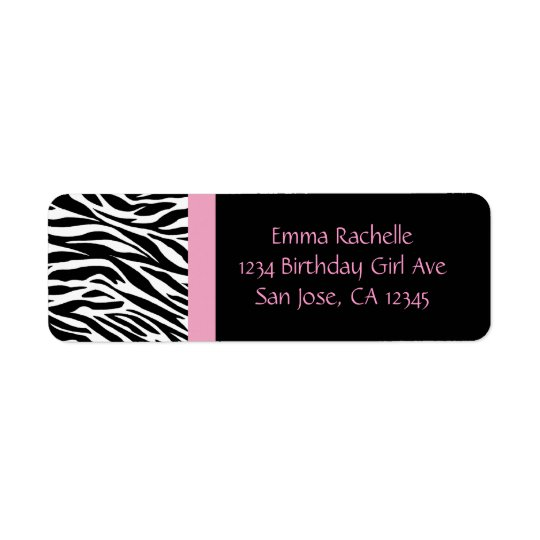 Chic Zebra Return Address Labels