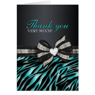Chic Zebra Sweet Sixteen Thank You Card