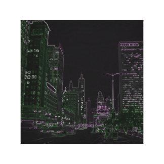Chicago 1967 Michigan Avenue Neon Night Glow Photo Canvas Print