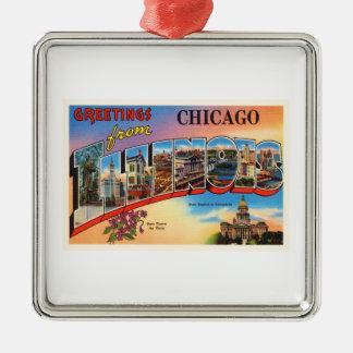 Chicago #2 Illinois IL Old Vintage Travel Souvenir Silver-Colored Square Ornament