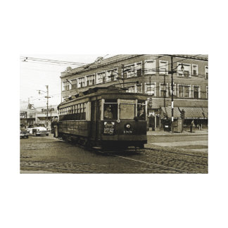 CHICAGO 63RD AND WESTERN 1952 TROLLEY ART SEPIA CANVAS PRINT