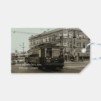 CHICAGO 63RD AND WESTERN 1952 TROLLEY ART SEPIA GIFT TAGS