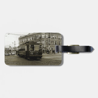 CHICAGO 63RD AND WESTERN 1952 TROLLEY ART SEPIA LUGGAGE TAG