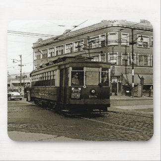 CHICAGO 63RD AND WESTERN 1952 TROLLEY ART SEPIA MOUSE PAD