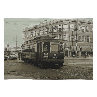 CHICAGO 63RD AND WESTERN 1952 TROLLEY ART SEPIA PLACEMAT