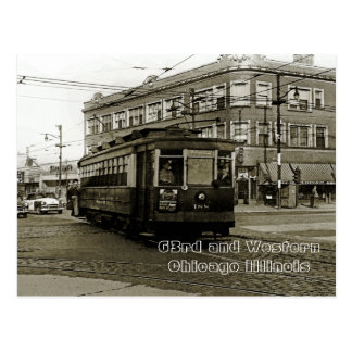 CHICAGO 63RD AND WESTERN 1952 TROLLEY ART SEPIA POSTCARD