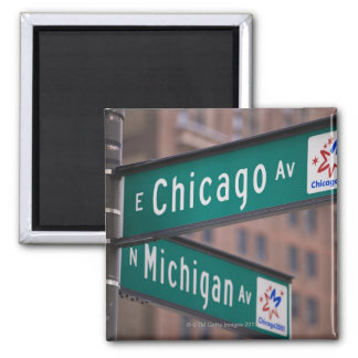 Chicago and Michigan Avenue signposts, Chicago, Square Magnet
