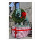 Chicago Art Institute Lion Decorated for Christmas Postcard