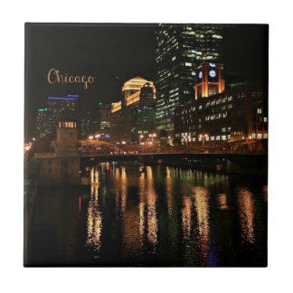 Chicago at Night cityscape Tile