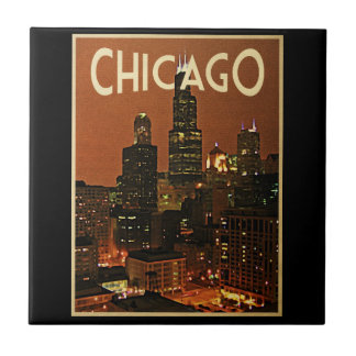 Chicago At Night Ceramic Tile