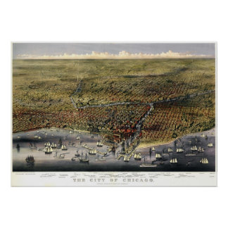 Chicago birdseye map  - 1874 (Parsons & Atwater) B Poster