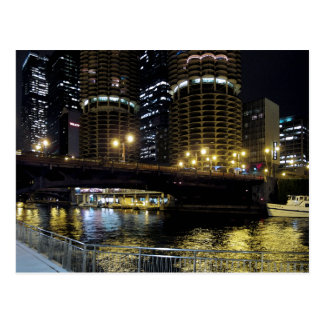 Chicago by Night - At the River Post Cards