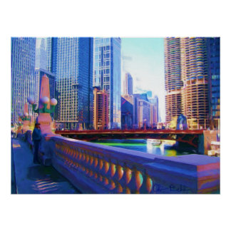Chicago Canal Painting Poster