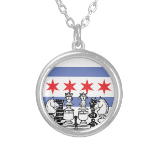 Chicago Chess Silver Plated Necklace