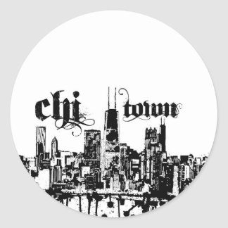 "Chicago ""chi-town"" put on for your city classic round sticker"