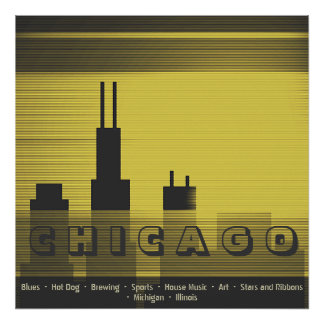 Chicago city graphic sundown and sunset graphic poster