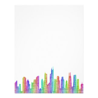 Chicago city skyline customized letterhead