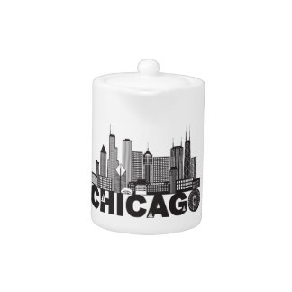 Chicago City Skyline Text Black and White
