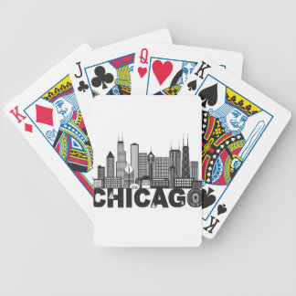 Chicago City Skyline Text Black and White Bicycle Playing Cards
