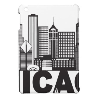 Chicago City Skyline Text Black and White iPad Mini Cover