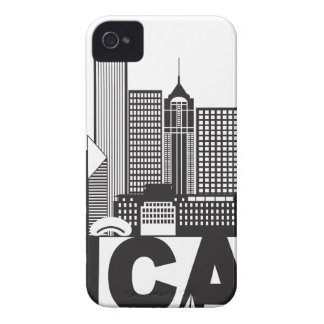 Chicago City Skyline Text Black and White iPhone 4 Case-Mate Case
