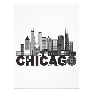 Chicago City Skyline Text Black and White Letterhead