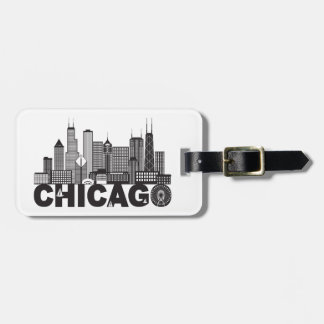 Chicago City Skyline Text Black and White Luggage Tag