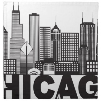 Chicago City Skyline Text Black and White Napkin