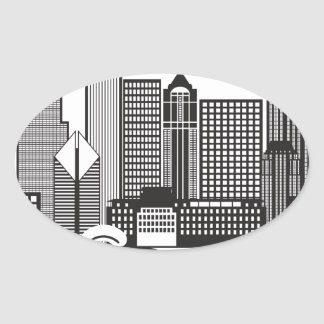 Chicago City Skyline Text Black and White Oval Sticker