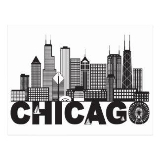 Chicago City Skyline Text Black and White Postcard
