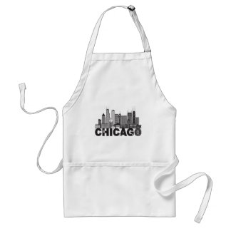 Chicago City Skyline Text Black and White Standard Apron