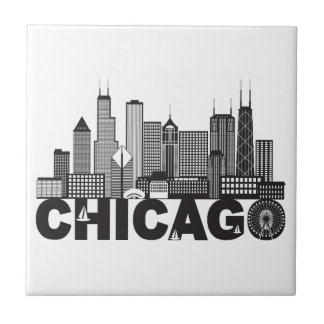 Chicago City Skyline Text Black and White Tile