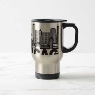 Chicago City Skyline Text Black and White Travel Mug