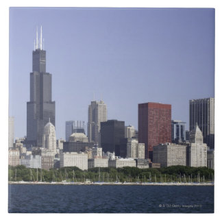 Chicago city skyline with Lake Michigan Ceramic Tile