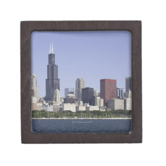 Chicago city skyline with Lake Michigan Premium Trinket Boxes