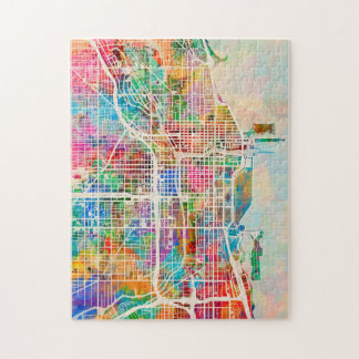 Chicago City Street Map Jigsaw Puzzle